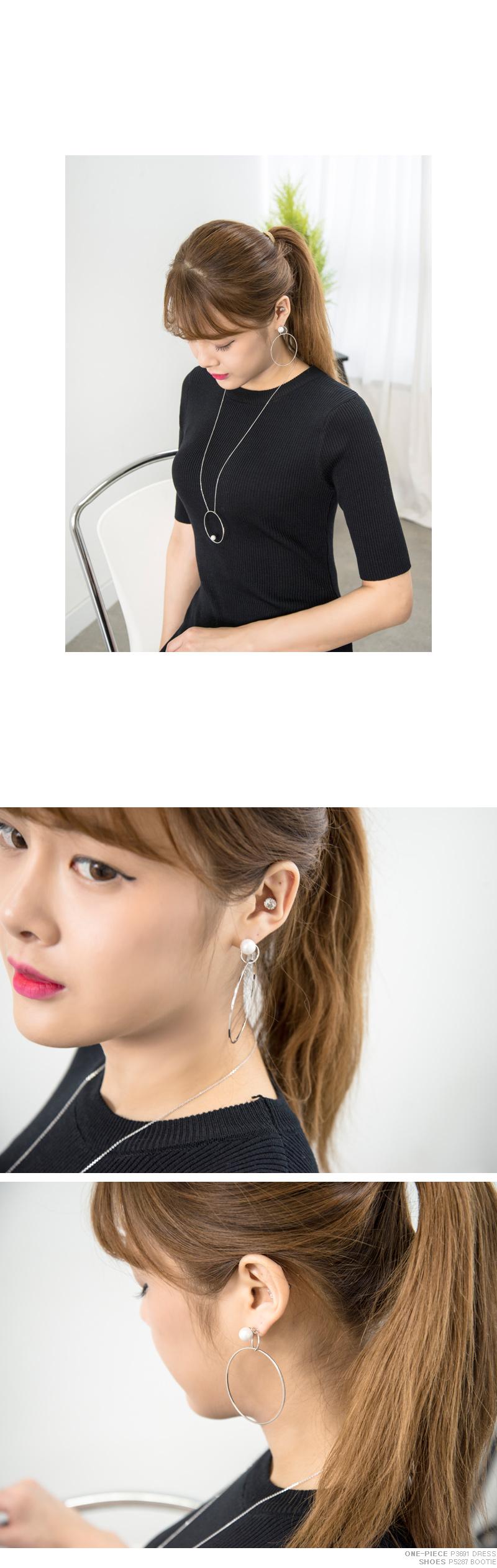 P5316 진주 링 롱 목걸이(케이스포함) - 쿠키세븐, 15,840원, 패션, 패션목걸이